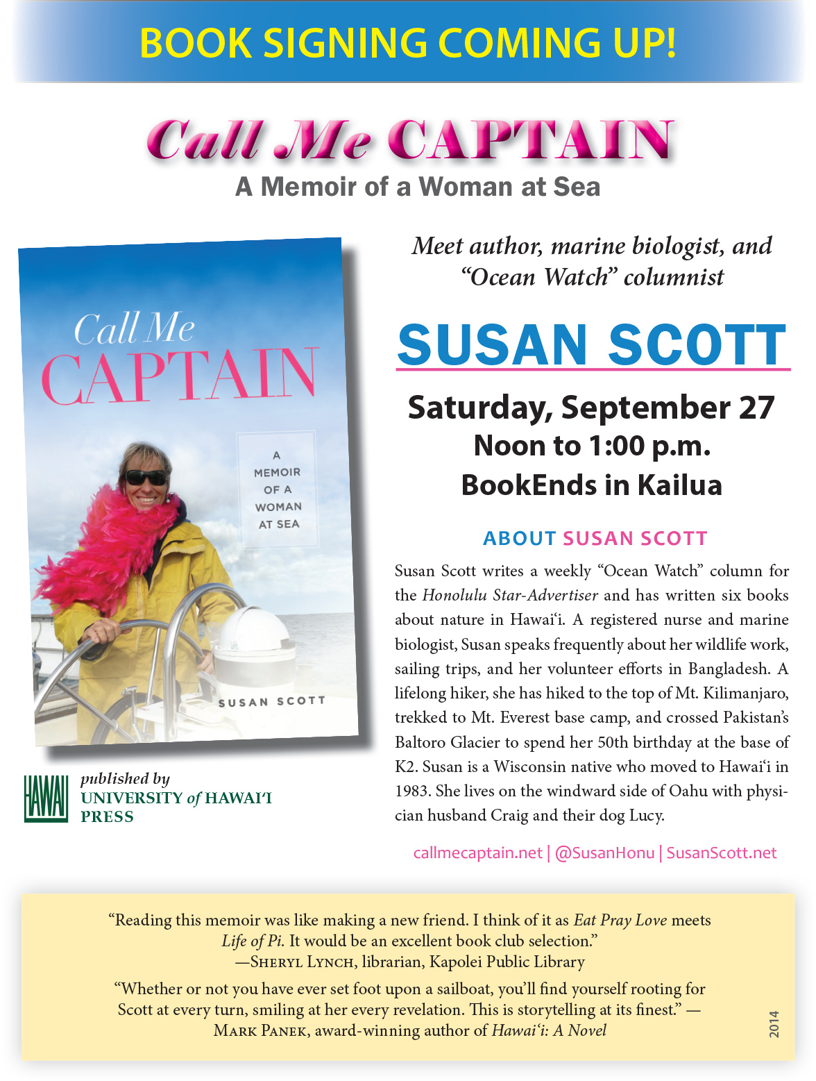 Susan Scott Signs Call Me Captain Before Another Sailing Adventure