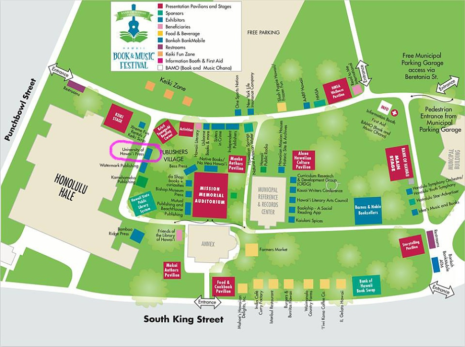 Map of Hawaii Book & Music Festival with UHP booth circled.