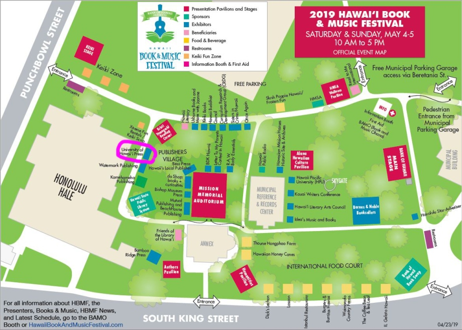 color map of festival layout; UH Press location is circled.